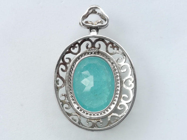The sky blue ice hemimorphite oval Faceted Gemstone Pendant hanging frame,Hemimorphite